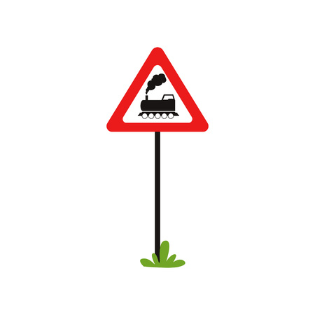 Triangular road sign with train without barrier . Railroad crossing ahead. Flat vecrtor element for mobile game or book of traffic rules Çizim