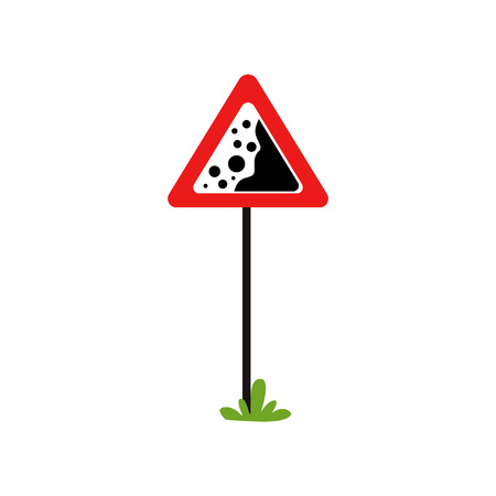 Red triangular warning sign falling stones. Dangerous road section. Flat vector element for book of traffic rules, educational mobile app, infographic