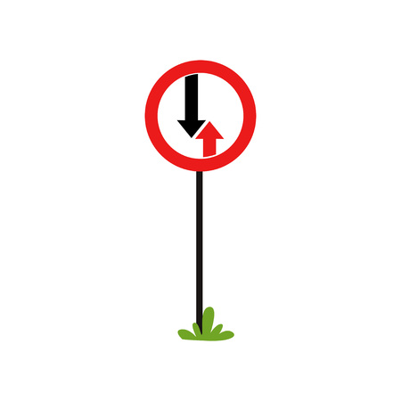 Road priority sign with two arrows advantage of oncoming traffic. Flat vector element for infographic poster or mobile app. Cartoon style icon Иллюстрация