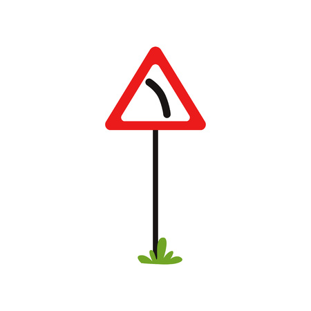 Icon of triangular warning sign dangerous turn left. Flat vector element for book of traffic rules, mobile app or infographic poster Illustration