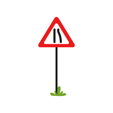 Triangular warning traffic sign road narrows to left. Flat vector design for educational book, infographic poster or mobile app. Cartoon style icon Illustration