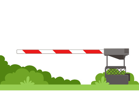 Striped automatic barrier prohibits traffic through railway crossing. Green bushes on background. Flat vector element for infographic, mobile app, educational book Illustration