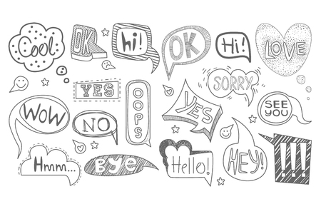 Set of hand drawn speech bubbles of various shapes. Sketches of dialog clouds with text Cool, Ok, Hi, Yes, Oops, Wow, No, Bye, Sorry, Hmm, See You. Comic vector icons