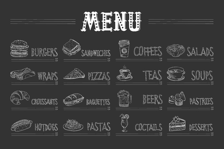 Cafe menu with food and drinks on chalkboard. Sketch of burger, wrap, croissant, hot dog, sandwich, pizza, pasta, coffee, tea, beer, cocktail, salad, soup, pastry, dessert. Hand drawn vector design