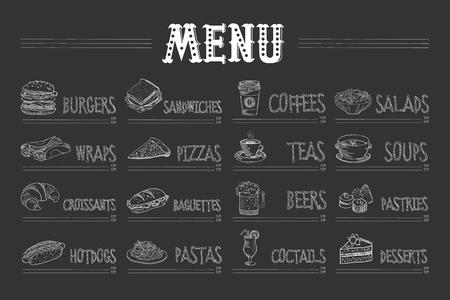 Menu du café avec de la nourriture et des boissons sur tableau noir. Croquis de burger, wrap, croissant, hot dog, sandwich, pizza, pâtes, café, thé, bière, cocktail, salade, soupe, pâtisserie, dessert. Conception de vecteur dessiné à la main