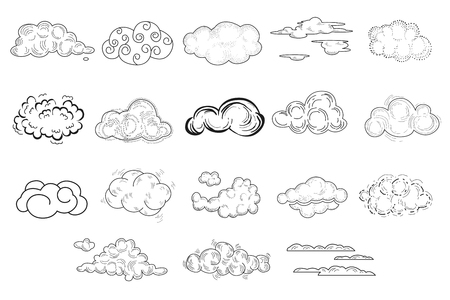 Set of comic hand drawn clouds of different shapes. Doodles sketches for your design. Thin line vector icons for decoration. Isolated monochrome illustration Ilustração
