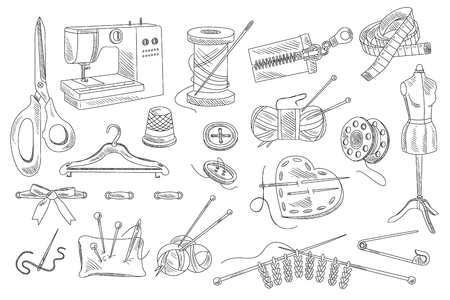 Vector set of hand drawn sewing and knitting icons. Mannequin, buttons, threads, sewing machine, scissors, pins, ribbon, pillow with needles, hanger, bobbin, centimeter, zipper Illusztráció