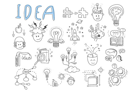 Idea icons set. Rocket, puzzles, rotating gears, open book, pens, human head, magnifying glass, calculations, lamp with wings and brains. Hand drawn vector illustration Çizim