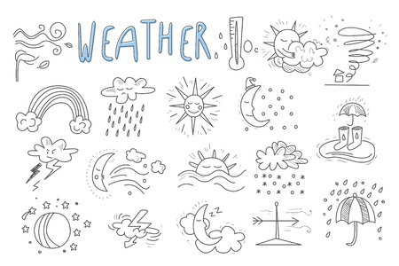 Vector set of hand drawn icons for mobile weather forecast application. Wind, snow, rainbow, rain, thunderstorm, downpour, hurricane, sun, crescent, clouds. Meteorologic theme