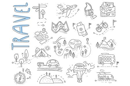 Doodle conjunto de iconos de viajes y camping. Poste indicador, globo aerostático, bicicleta, bosque, carretera, cámara, automóvil, mapa, equipaje, camping, colinas, carpa, trolebús, tren. Diseño vectorial
