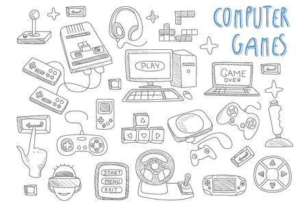 Set of doodle vector icons related to computer games. Joysticks, gaming controllers, computer and laptop. Gamer in virtual reality glasses. Electronic devices