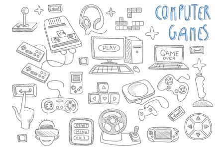 Zestaw ikon wektorowych doodle związanych z grami komputerowymi. Joysticki, kontrolery do gier, komputer i laptop. Gracz w okularach wirtualnej rzeczywistości. Urządzenia elektryczne Ilustracje wektorowe