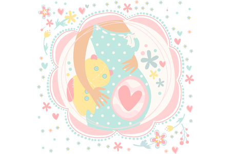 Pregnant woman expecting child birth. Belly with baby inside. Pregnancy theme. Hand drawn vector design for greeting card. Beautiful illustration in gentle colors