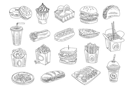 Fast food and drinks sketch set. Hand drawn vector design of fast food, street food for shop or cafe menu