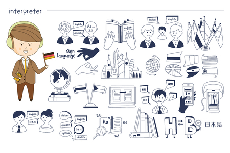 Hand drawn sketch related to interpreter profession. Man in headphones with flag in hand. Monochrome vector icons of oral, written and machine translation