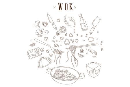 フライパンの手描きベクターイラストと麺。中華料理。中華鍋、カット食材、キッチン用品。アジア料理。レストランやカフェのデザイン  イラスト・ベクター素材