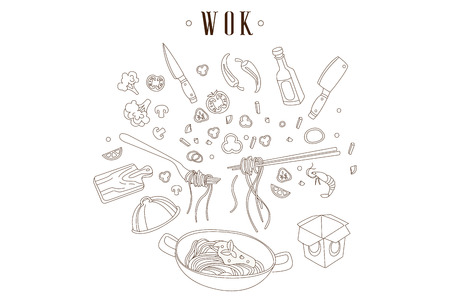 Hand drawn vector illustration of frying pan with noodles. Chinese food. Wok, cut ingredients and kitchen utensils. Asian cuisine. Design for restaurant or cafe