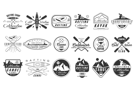 Vector set of monochrome for coldwater club. Canoe camp emblems. Extreme water sport. Vintage rafting badges. Outdoor activity. Design for poster, t-shirt print Vettoriali