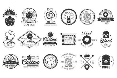 Ensemble d'emblèmes vintage en coton et laine avec lettrage à la main. Produit naturel. Étiquettes monochromes élégantes. Matériaux en tissu. Qualité supérieure. Création de logo vectoriel Banque d'images - 97573181