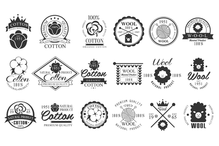 Set of vintage cotton and wool emblems with hand lettering. Natural product. Stylish monochrome labels. Cloth materials. Premium quality. Vector logo design Çizim