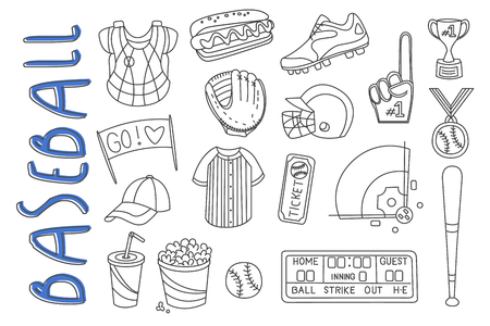 Set of sport related icons in doodle style. Baseball equipment, protective gear, snacks and cocktail, winners prizes. Isolated vector illustration