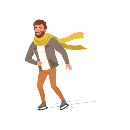 Cheerful young man in warm clothes and scarf ice skating vector Illustration on a white background