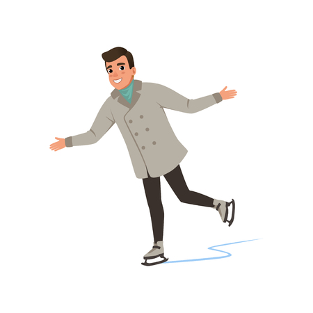 Smiling young man in warm clothes ice skating vector Illustration on a white background