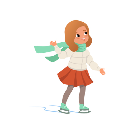Lovely girl in warm clothes ice skating vector Illustration on a white background Çizim