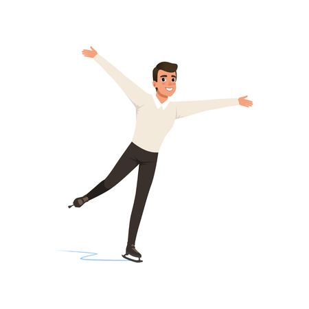 Figure skater man skating, male athlete practicing at indoor skating rink vector Illustration on a white background