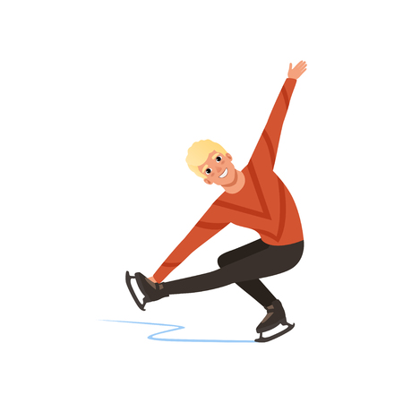 Young figure skater man skating, male athlete practicing at indoor skating rink vector Illustration on a white background