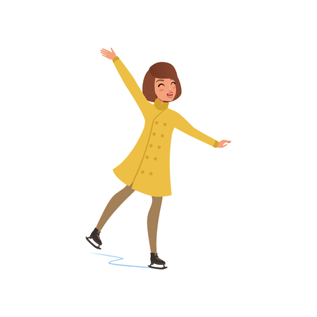 Girl in warm clothes ice skating vector Illustration on a white background Illustration