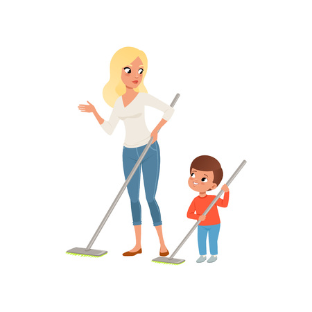 Mother and her little son sweeping the floor at home together vector Illustration on a white background Illustration