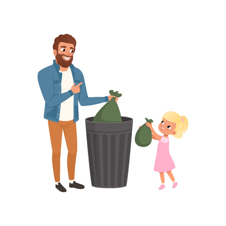 Father and his little daughter throwing garbage into a trash can together vector Illustration on a white background Vettoriali