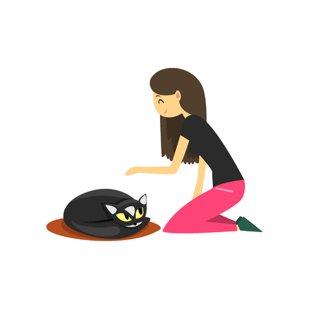 Young woman sitting on the floor and stroking her cat, cute pet with its owner vector Illustration on a white background