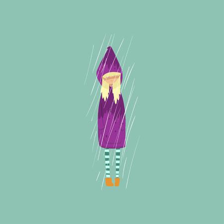 Heavy rain pouring on sad girl in purple raincoat vector Illustration