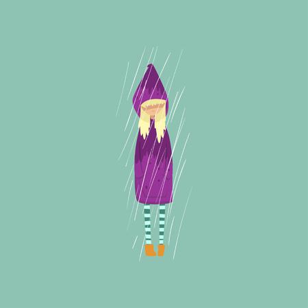 Heavy rain pouring on sad girl in purple raincoat vector Illustration