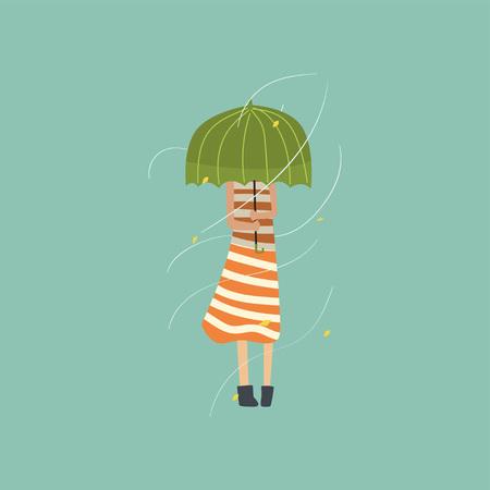 Chica de congelación y temblando bajo el paraguas verde en un día muy ventoso al aire libre vector ilustración