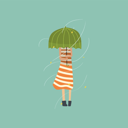 Girl freezing and shivering under green umbrella on a very windy day outdoors vector Illustration