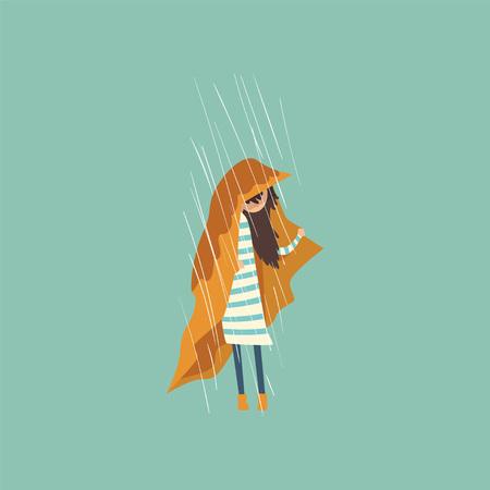 Heavy rain pouring on sad girl under yellow cloth vector Illustration