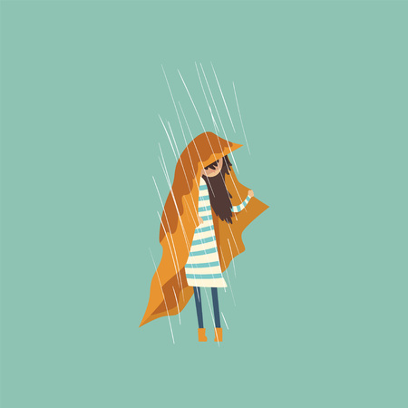 Heavy rain pouring on sad girl under yellow cloth vector Illustration