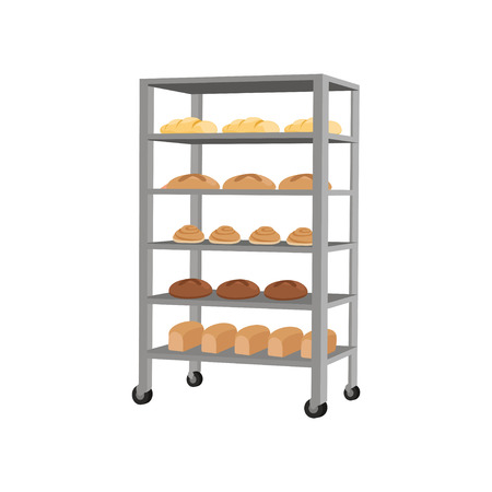 Rack with freshly baked bread vector Illustration on a white background