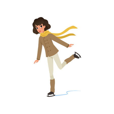 Beautiful brunette girl in warm clothes ice skating vector Illustration on a white background