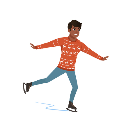 Young African American man ice skating vector Illustration on a white background Stock Illustratie