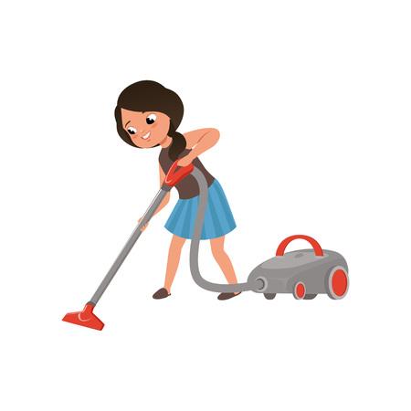 Linda chica limpiando el espejo limpiando el piso con aspiradora, limpieza del hogar y tarea vector ilustración sobre un fondo blanco