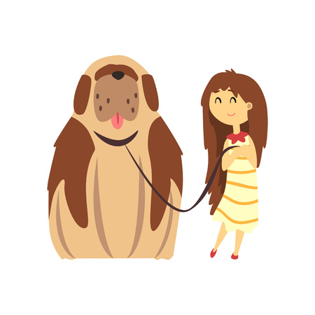 Little girl walking with big brown dog, cute pet with its owner vector Illustration on a white background