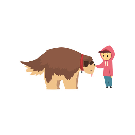 Little boy walking with big brown dog, cute pet with its owner vector Illustration on a white background Illustration