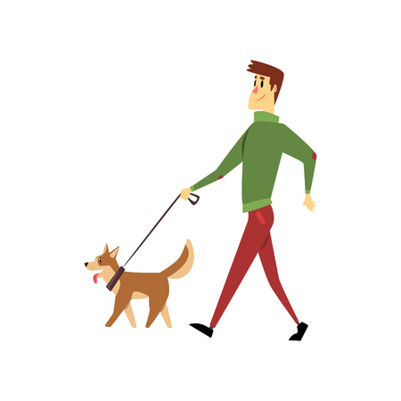 Young man walking with his dogs, cute pets with its owner vector Illustration on a white background