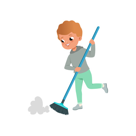 Cute little boy sweeping the floor vector illustration  イラスト・ベクター素材