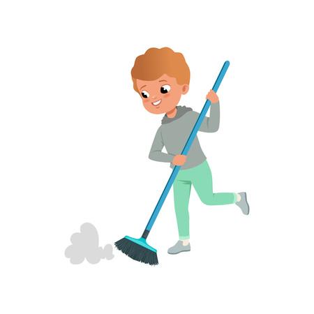 Mignon petit garçon balayant l'illustration vectorielle de plancher