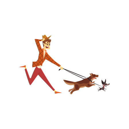 Young man running with his dogs, cute pets with its owner vector Illustration on a white background